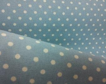 Ivory dots, on pale blue, 1/2 yard, pure cotton fabric