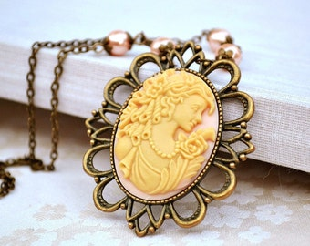 Mother's day gift Whimsical Cameo Necklace for her pink ivory cameo pendant cameo pearl necklace statement cameo jewelry victorian necklace