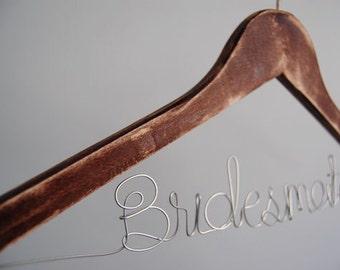 Distress Wood Wedding Hanger, Bridal Dark Wood Hanger, Rustic Bridesmaid Hanger, Bridal Shower Gift, Wedding Party Gift, Personalized Name