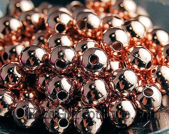 Rose Gold-Plated Brass 4mm Beads- 100