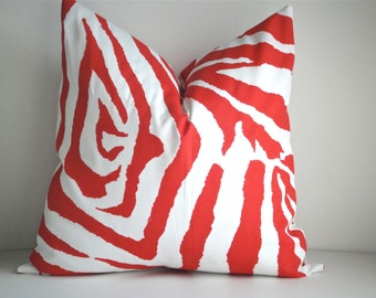 Indoor / Outdoor  Decorative Pillow Cover In Zebra Salmon Decorative Pillow Covers, Throw Pillow, Available In Different Sizes