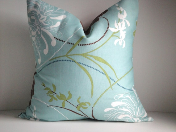CLEARANCE - Indoor/Outdoor -18X18  Pillow Cover In Aqua Same Fabric on Both Sides