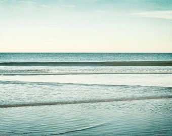 "Ocean Photography - seascape blue water nautical coastal wall art beach photograph waves mint picture teal - 11x14, 8x10 Photo, ""Low Tide"""