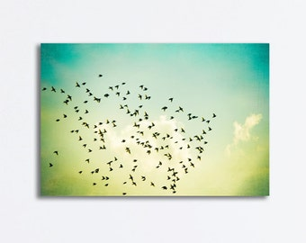 """Flying Birds Canvas Wrap - large Photography turquoise yellow nursery canvas flock teal mint green wall art sky artwork, """"The Great Escape"""""""