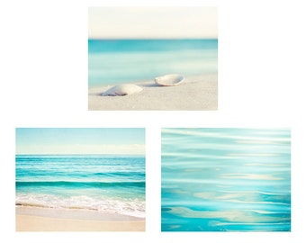 Aqua Beach Photo Set - 3 ocean blue photographs white cream three sea prints beige water nautical gallery wall art coastal pictures waves