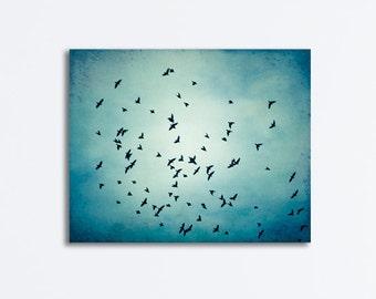 "Birds Flying Canvas Wrap, blue wall art black bird fly sky photograph nature wall art dark blue wrapped canvas print fine art decor, ""Swarm"""
