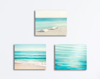 Blue Beach Canvas Set - light aqua coastal photography ocean pale white cream beige seaside prints gallery wraps nautical artwork pictures