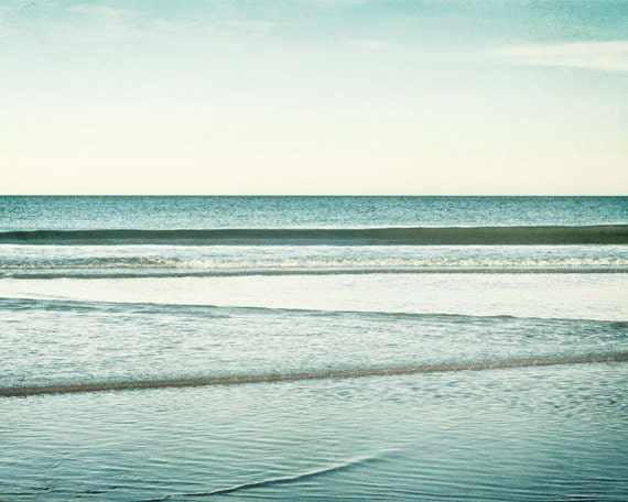 """Ocean Photography - seascape blue water nautical coastal wall art beach photograph waves mint picture teal - 11x14, 8x10 Photo, """"Low Tide"""""""
