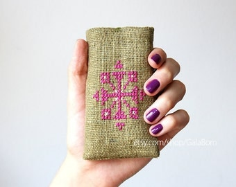 iPhone 5 5S 5C case - Phone case - Hand embroidery - Tribal - Olive green