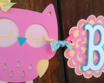 It's A Girl Owl Banner, BABY banner,  in Pink, yellow and Aqua OR pick your own colors