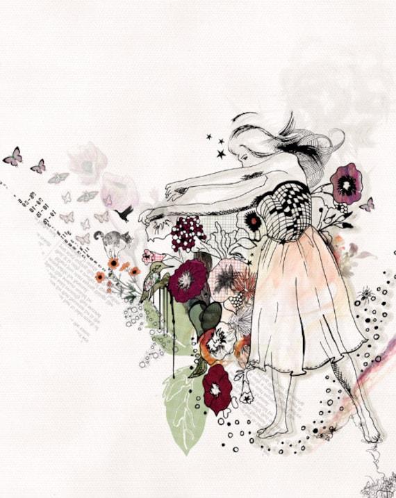 Collage Art, Illustration de mode, danseur peinture, impression 11 X 14, Art peinture, Illustration