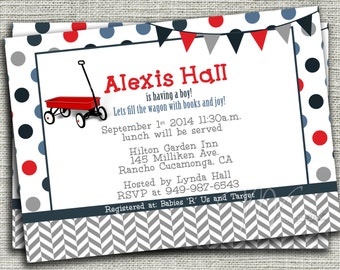Little Red Wagon Baby Shower Invitation, Red Wagon Baby Shower Invitation, Wagon Birthday Invite-Digital File You Print