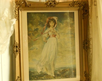 Vintage Framed Large Print of PINKIE Portrait of Sarah Barrett Moulton Originally Painted By Thomas Lawrence 1794  Classic Wall Hanging