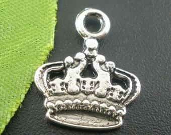 10 Silver Tone Crown Charm Pendants     (1196)