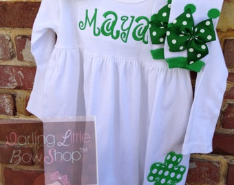 St Paddy's Day Outfit -- Almost Irish -- long sleeve white dress dress with name and shamrock in emerald green,  leg warmers and hairbow