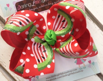 Watermelon bow -- Watermelon Picnic -- Large hairbow with optional headband -- red and green sparkly watermelon-- Darling Little Bow Shop