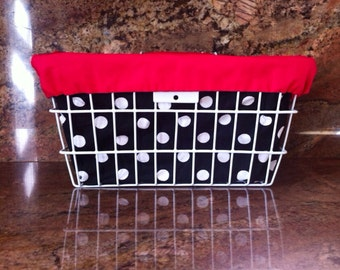 Polka Dot Bicycle Basket Liner