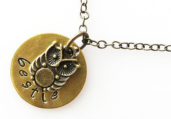 bestie necklace, gift for best friend necklace, sister gift, bff jewelry, friendship necklace, cute baby owl necklace, hand stamped jewelry