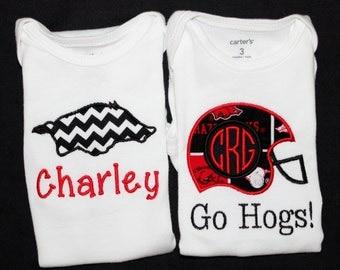 Boys/Girls Personalized Arkansas Razorbacks Onesie or tshirt