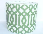Custom Drum Lampshade in Schumacher Imperial Trellis fabric in Green