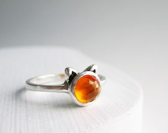 Orange Cat Ring, Carnelian and Sterling Silver Ring