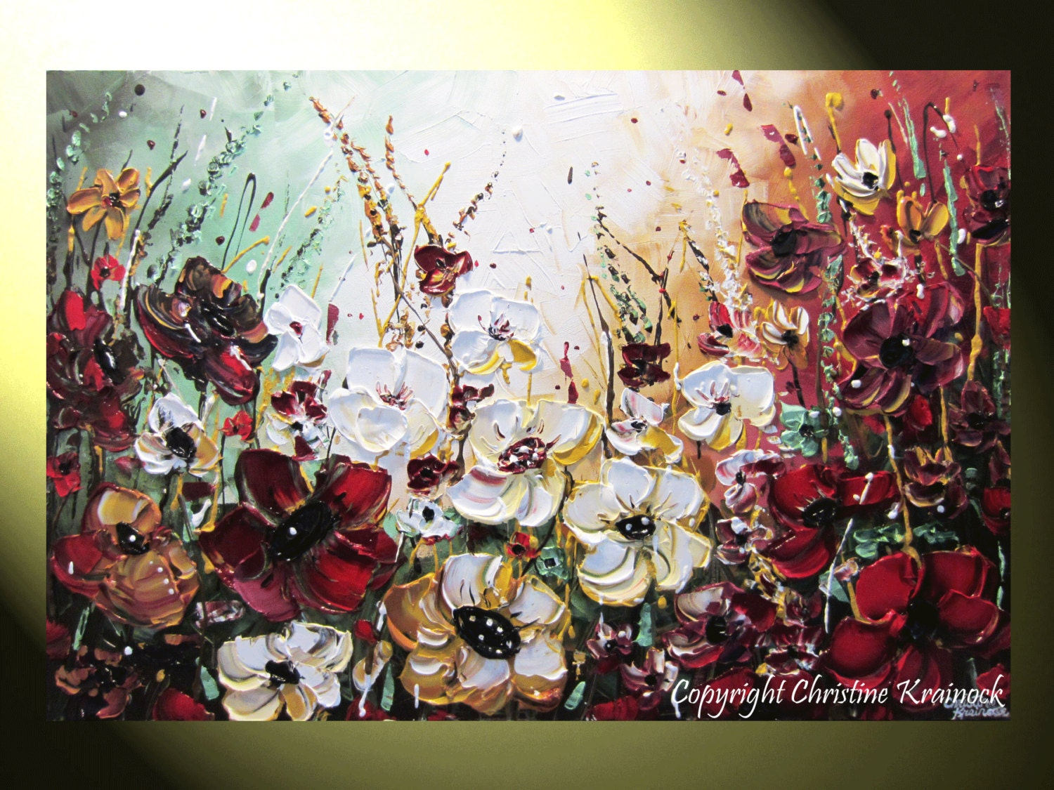 Original art abstract painting flowers wildflowers modern for Modern flower paintings