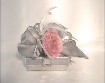 Pink and Gray Wedding Favor Box, Jewlery Box, Wedding, Gift Box, Favors, Jewelry, Mothers Day, , Bridesmaids, Handmade, Decorative Boxes