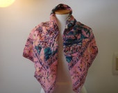 Square  Vintage Pink Blue Floral Very Large Silk Scarf