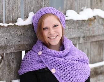 Winter Sale - Purple Knitting Hat - Purple Pom Pom Hat - Purple Knitting Beret - Purple Women Hat, ready to ship