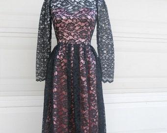 Vintage Black Lace Dress GUNNE SAX Maxi Dress . Black & Pink Jessica McClintock Prom Dress XS, S