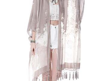 SALE 20% OFF // Desert Angel Floral Velvet Burnout Beaded Tassel Kimono