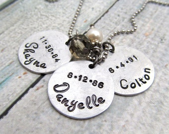 Personalized Mother's Necklace - Personalized Necklace - Cluster Necklace - Hand Stamped Jewelry - Mom Necklace Grandmother Grandma (100)