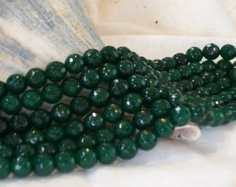 Green Jade faceted gemstone -(6 mm faceted round beads)- full strand