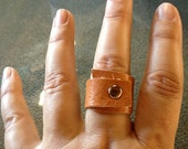 Distressed Leather Ring,Wraped Around Ring
