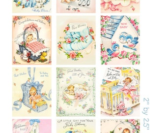 Digital Clipart, instant download, vintage baby card images, new baby, bluebirds, lamb, baby booties--8.5 by 11--Digital Collage Sheet  1392