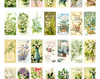 1 by 2 domino collage sheet, instant download, lily of the valley flower floral pendant vintage image, 8.5 by 11, Digital Collage Sheet 1604