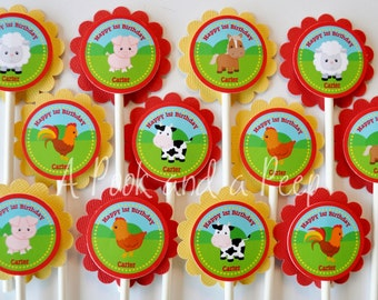 Down on the Farm Birthday Cupcake Toppers