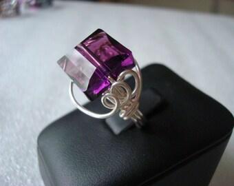 Custom Swarovski Stairway Crystal Sterling Silver Ring