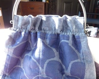 Handcrafted Purple and Gray Purse/Handbag with Kiss Lock Handle Frame