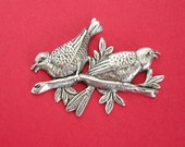Birds on Branch Ox Silver  Brass Stamping Ornament  Art Deco Antiqued Silver Jewelry Findings.