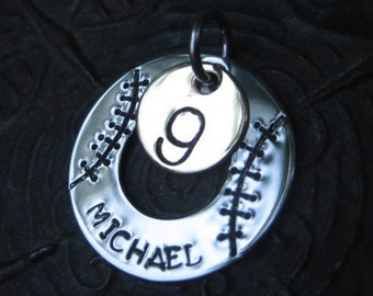Stamped Jewelry - Baseball Necklace - Team Sport Necklace - Baseball Mom Necklace