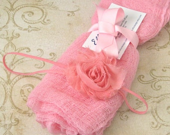 Newborn Wrap AND Headband Set, Cheesecloth Baby Wrap Shabby Headband Set, Newborn Photography Wrap, Photography Prop, Baby Wrap for Portrait