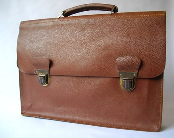 VINTAGE  FRENCH leather bag - French Satchel