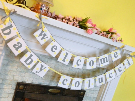 Baby shower decorations yellow and gray baby shower for Welcome home baby shower decorations
