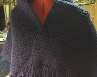 Blue croched shawl
