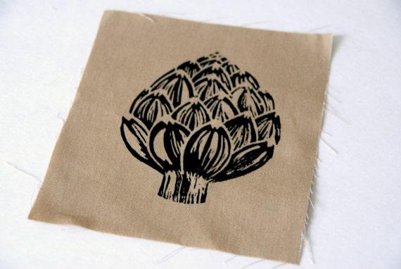 Tan Artichoke Block Print Sew On Punk Patch