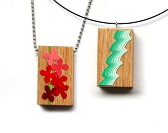 One of a kind Pendant - Wooden Charm - Flowers / Blossoms / Lines / Waves