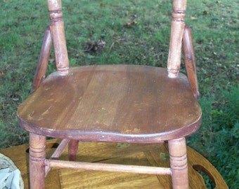 Chair Antique Childs Wooden Mid Century Chair