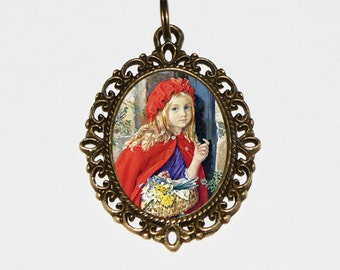 Little Red Riding Hood, Big Bad Wolf Necklace, Fables, Brothers Grimm, Oval Pendant
