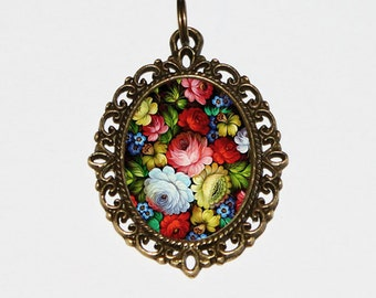 Zhostovo Flowers Necklace, Russian Folk Art, Pretty Flower Jewelry, Oval Pendant